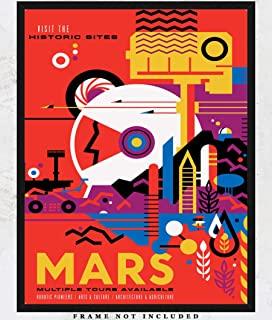 NASA Poster 'Mars' Space Tourism Wall Art Prints Unique Room Decor for Boys, Men, Girls & Women - (11x14) Unframed Picture - Great Gift Idea for Space and NASA Fans!
