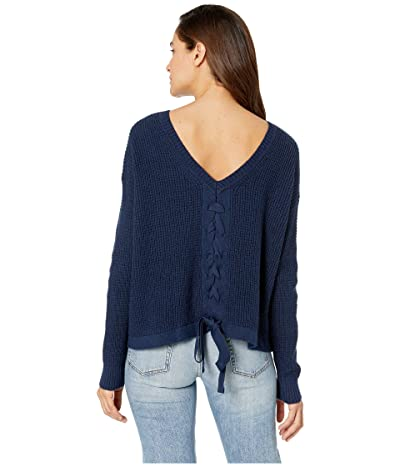 1.STATE Waffle Stitch V-Back Lace-Up Sweater (Lunar Navy) Women