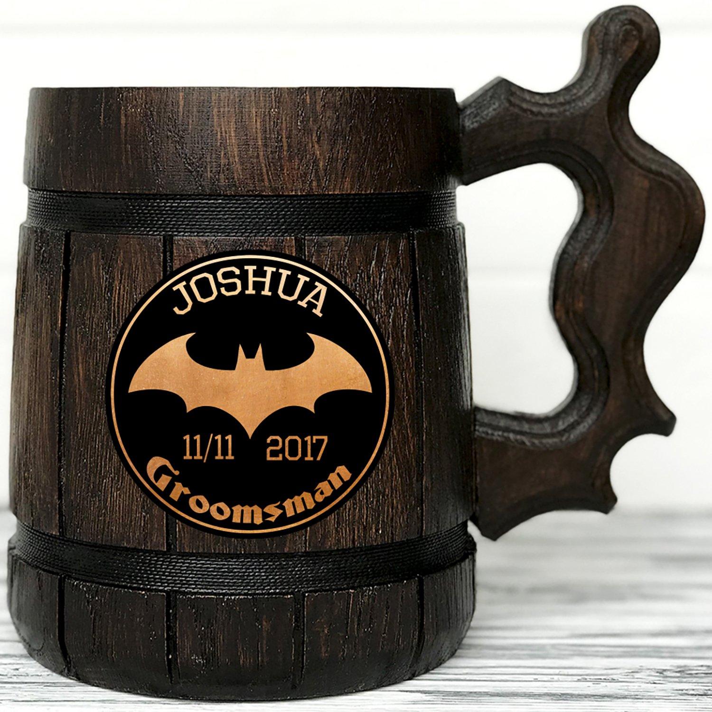 Personalized Batman 5% OFF Wooden Mug 2021new shipping free shipping Super Hero Gift