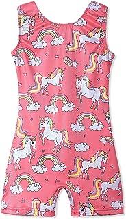 Leotards for Girls Gymnastics Unicorn Sparkly Pink Biketards Stars Rainbow Clouds