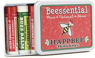 Beessential Natural Lip Balm Holiday Christmas Gift Tin, Cinnamon & Peppermint, 5 Pack - Heals and Prevents Dry and Chappe...