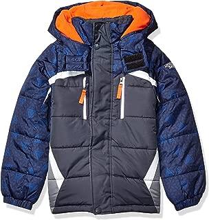 London Fog Boys' Big Active Puffer Jacket Winter Coat, Grey Solid Hood, 8
