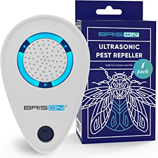 BRISON Ultrasonic Pest Reject Repeller - 1 Pack - Plug in Electronic Non-Toxic Device - Electromagnetic and Ultrasound Control - Repellent for Mice Rats Bed Bugs Spiders Rodents Insects - Indoor