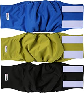 Wegreeco Washable Male Dog Diapers (Pack of 3) - Washable Male Dog Belly Wrap