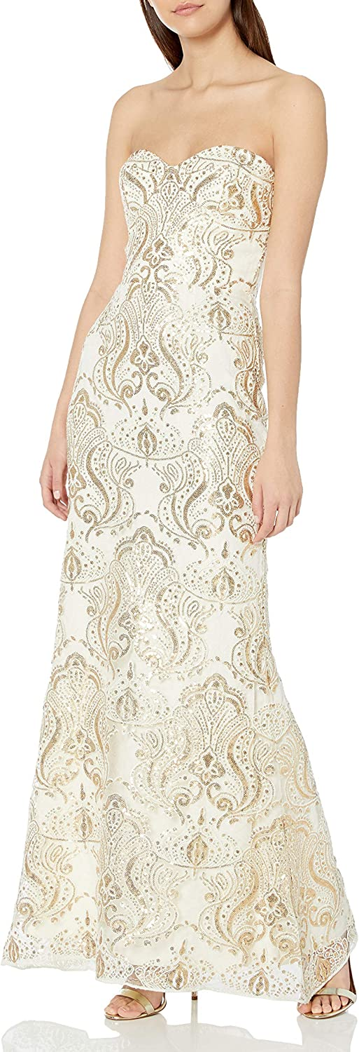 Dress the Population Women's Fit and Flare, Ivory-Gold, S