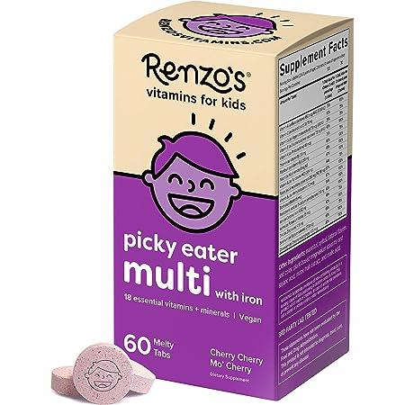 Renzo's Picky Eater Kids Multivitamin with Iron, Dissolvable Vegan Vitamins for Kids, Zero Sugar, Cherry Cherry Mo' Cherry Flavor, 60 Melty Tabs