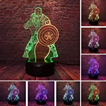 New Movie Hero Creative Marvel Avengers Civil War Captain America Figure 3D Illusion Night Light RGB Colorful 7 Color Change LED Table Lamp Boys Xmas New Year Gifts (Captain America)