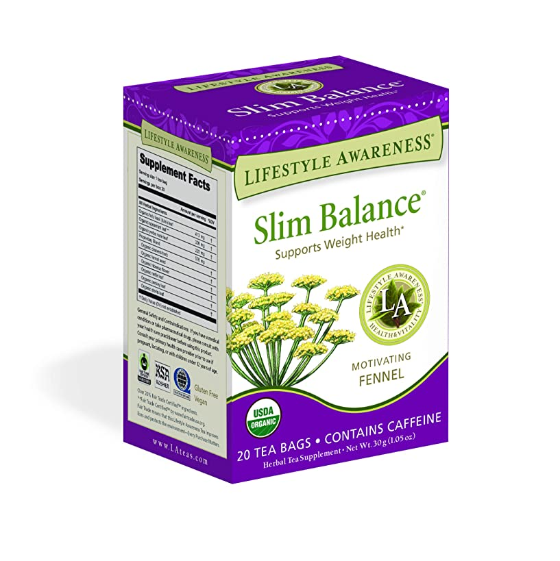 Lifestyle Awareness Slim Balance Tea with Motivating Fennel, Contains Caffeine, 20 Tea Bags, Pack of 6