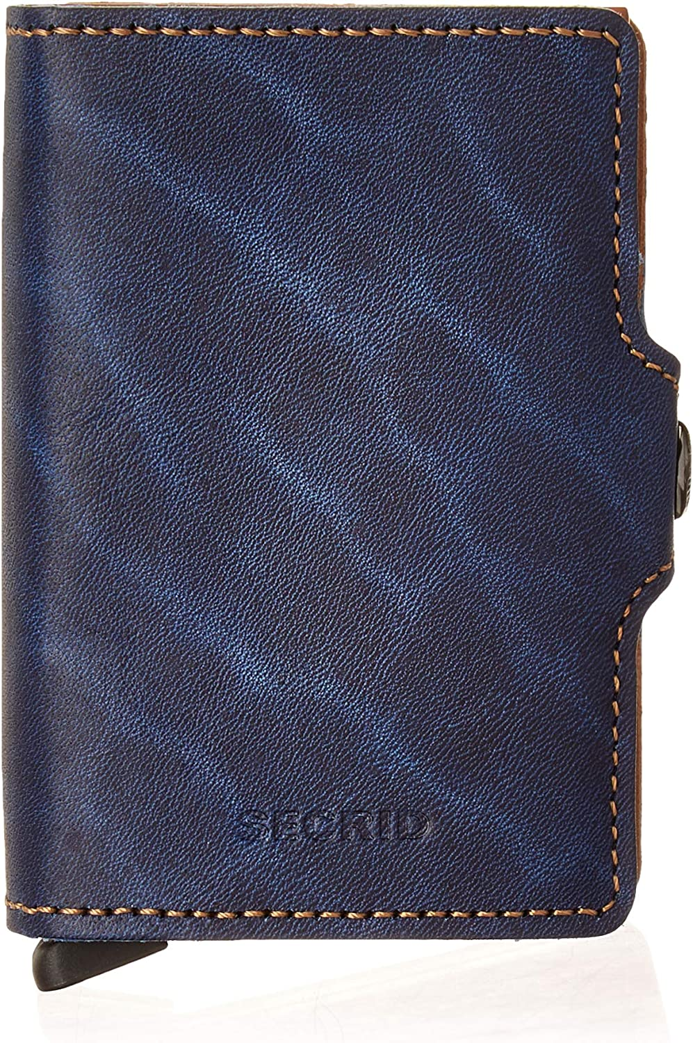 secrid Twin Wallet Genuine Leather with RFID Protecton, Holds up to 16 Cards (Indigo)