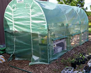 Quictent 2 Doors Reinforced PE Cover 12 X7 X7 feet Portable Greenhouse Large Walk-in Green Garden Hot House