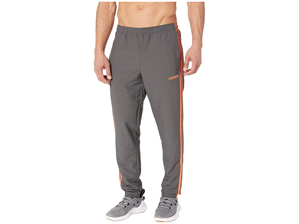 adidas Essential 3-Stripe Woven Open Hem Pants (Grey Six/True Orange) Men