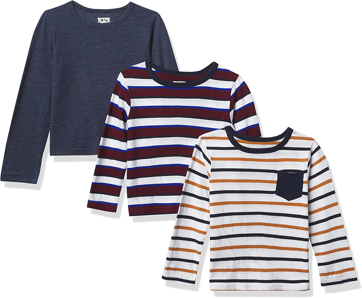 The Children's Place and Toddler Boy Long Sleeve Striped Top 3-Pack