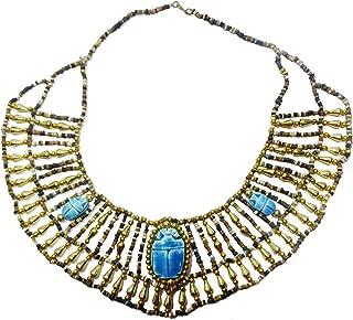 Egyptian Hand Made Multi Beaded Scarab Beetle Beads Cleopatra Nefertiti Queen 9.5