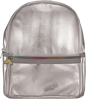 """iscream Girls' Silver Metallic Faux Leather Mini 10"""" x 8"""" Backpack for Fun and Travel"""