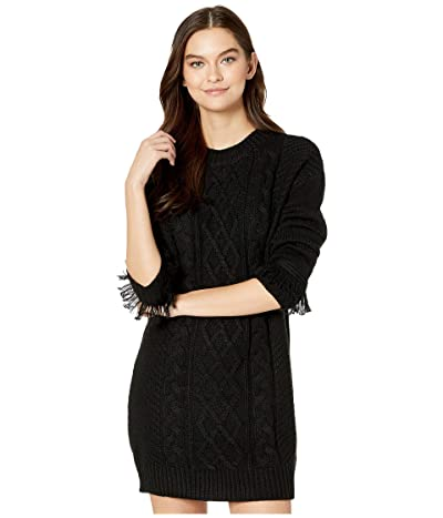 Jack by BB Dakota Cable That Way Front Sweater Dress with Wrist Fringe (Black) Women