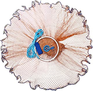 Yeahmart Saltwater Fishing Cast Net with Aluminum Frisbee for Bait Trap Fish Throw Net, Size 4/6/8FT Radius Freshwater Cas...