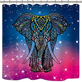 Riyidecor Mandala Elephant Shower Curtain Set 12 Pack Metal Hooks Asian Oriental Motifs Blue Purple Sky Stars Galaxy Animal Colors Waterproof Fabric Bathroom Bathtub Home Decor Panel 72x72 Inch