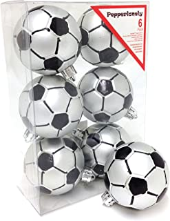 PEPPERLONELY Soccer Shatterproof Sports Ball Ornaments/Decorations, Set of 6PC, 65mm (2-1/2 Inch)