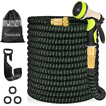 """Takuvan 100ft Expandable Garden Hose, Durable Flexible Expanding Water Hose, Leakproof Lightweight Hose with 9 Function Spray Nozzle, Extra Strength Fabric Hose Pipe with 3/4"""" Solid Brass Connector"""