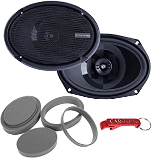 """$129 » Memphis Audio PRX6902 6"""" x 9"""" (6x9) 2-Way 60 Watts RMS / 120 Peak Power Reference Coaxial Speakers Bundle with Fast Rings ..."""