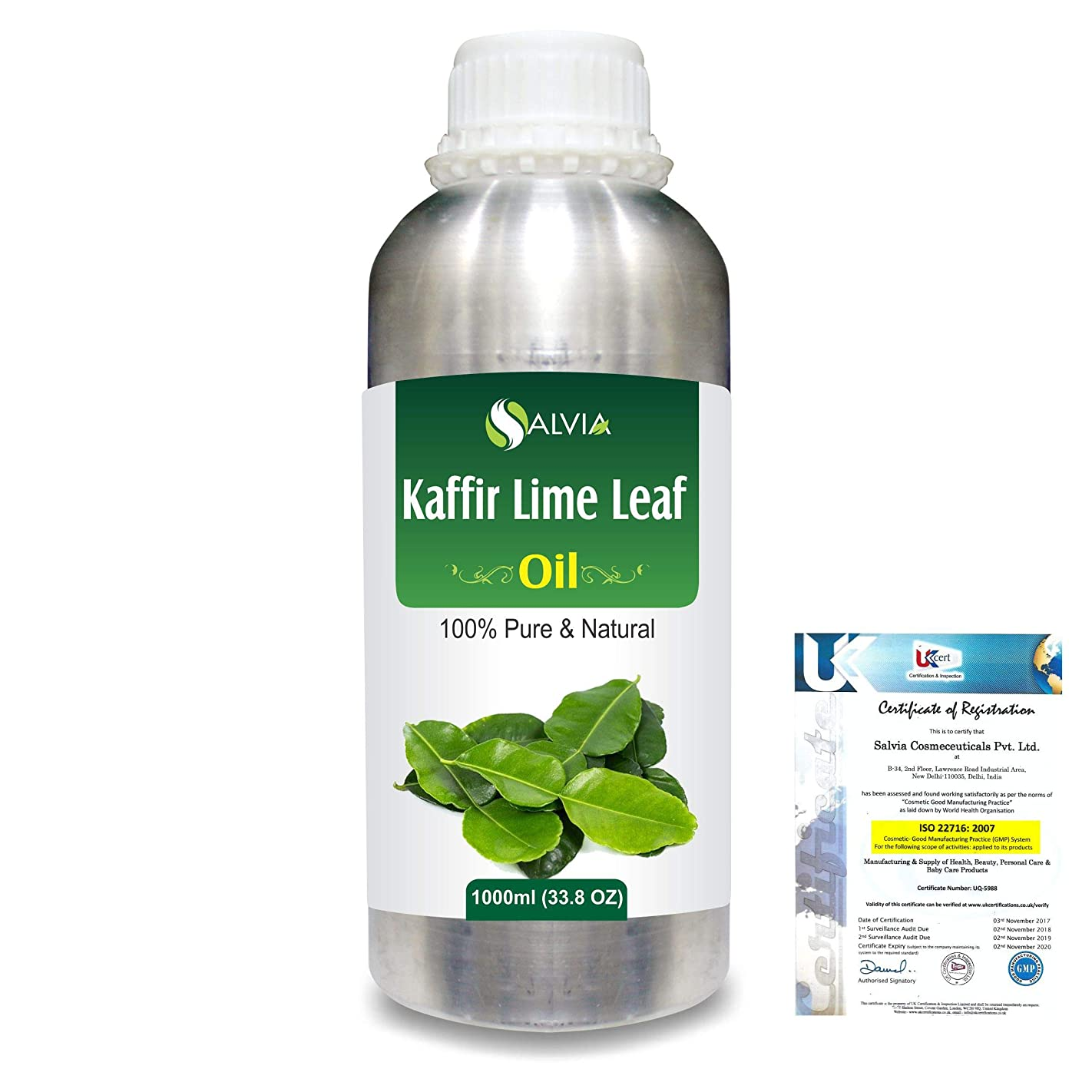 勝利したクレタネックレットKaffir Lime Leaf (Citrus Hystrix) 100% Natural Pure Essential Oil 1000ml/33.8fl.oz.
