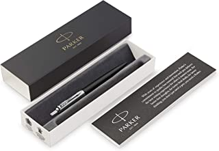Parker Jotter Ballpoint Pen, Bond Street Black with Chrome Trim, Medium Point, Blue Ink, Gift Box