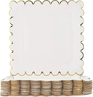 Blue Panda 48-Count White Party Paper Plates with Scalloped Gold Foil Edge, 9 Inches