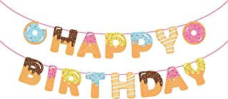 CC HOME Donut Birthday Banner ,Donut Time Birthday Party Decorations Supplies,Donut Happy Birthday Banner,Donut Party Bunting Garland Background String for Donut Themed Party ,Donut Grown Up Party,Tea Party Kids Birthday Baby Shower Decorations