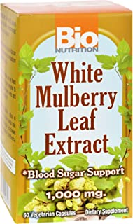 Bio Nutrition Inc White Mulberry Leaf Extract - Blood Sugar Support - 1000 mg - Gluten Free - 60 Veg Capsules (Pack of 2)