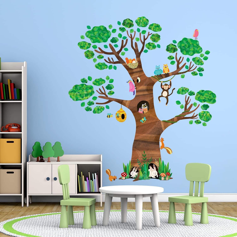 DECOWALL DL-1709 Giant Finally popular brand Tree and Kids Animals SALENEW very popular! Wall Stickers