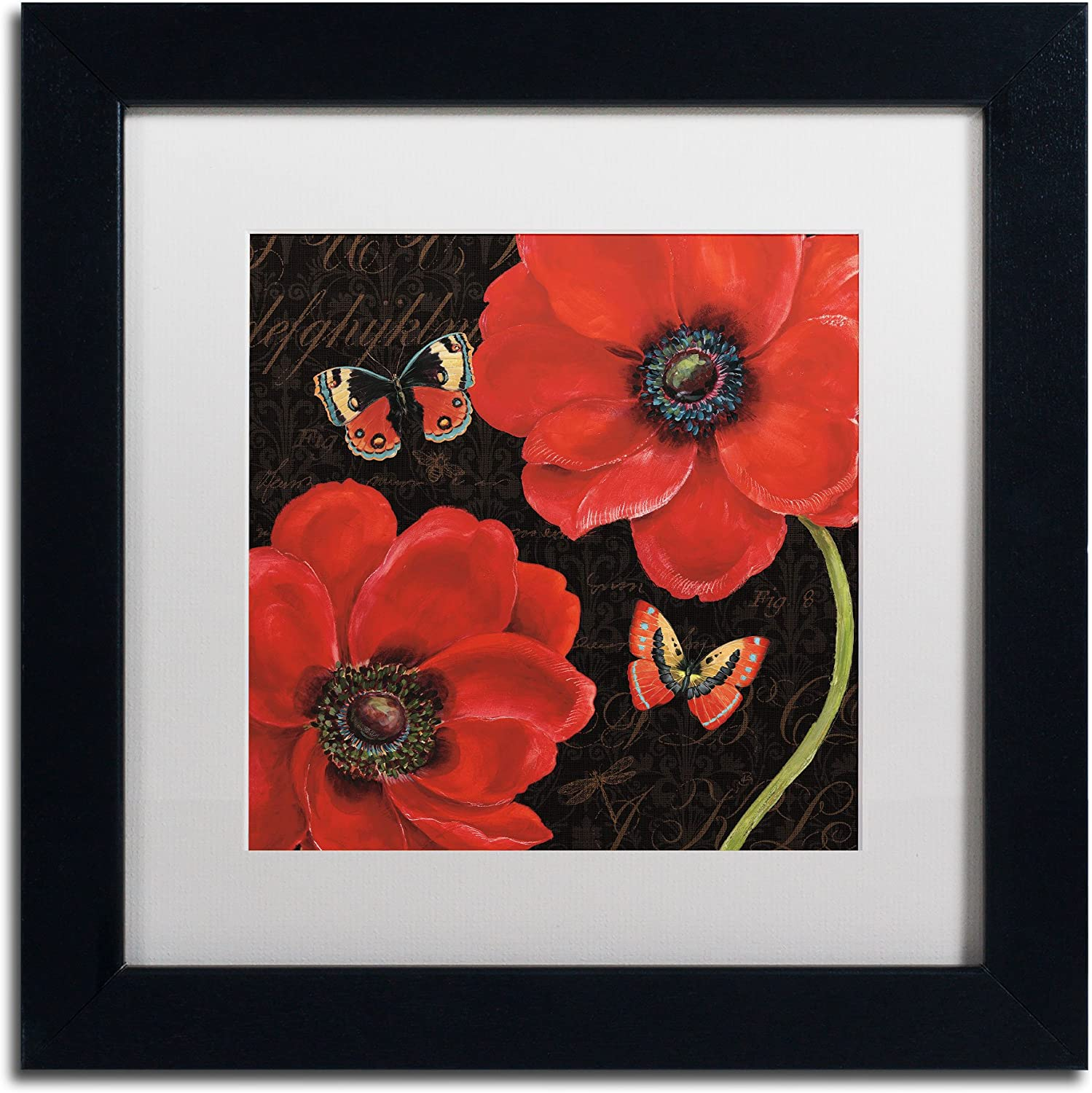 Trademark Fine Art Petals and Wings III Framed Art by Daphne Brissonnet, 11 by 11Inch, White Matte with Black Frame