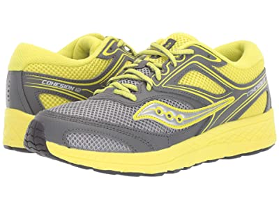 Saucony Kids Cohesion 12 LTT (Big Kid) (Grey/Citron) Boys Shoes