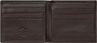 Nuvola Pelle Compact Slimline Leather Credit Card Holder Wallet for Men 9 Card Slots ID Window Dark Brown