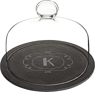 Cathy's Concepts 2197-K Personalized Slate Tray with Glass Dome, Black