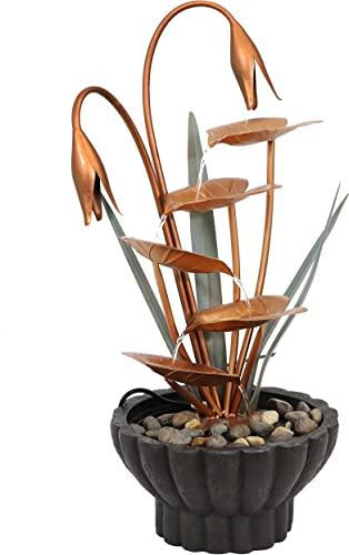 new arrival Sunnydaze Flower Petals high quality Outdoor Water Fountain - Copper Waterfall Fountain & sale Backyard Water Feature for Patio, Yard, & Garden - 34 Inch Tall outlet sale