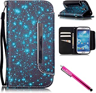 Galaxy S4 Case, Galaxy S4 Wallet Case, Firefish [Kickstand] [Shock Absorbent] Double Protective Case Flip Folio Slim Magnetic Cover with Wrist Strap for Samsung Galaxy S4 i9500-Starry