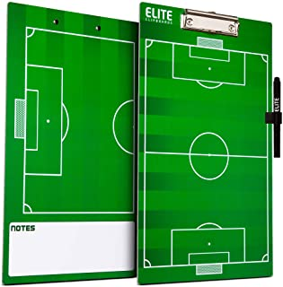 Elite Clipboards Dry Erase Coaches Clipboard | Double-Sided Coach Marker Board for Basketball Baseball Football Soccer Hockey Lacrosse & Volleyball