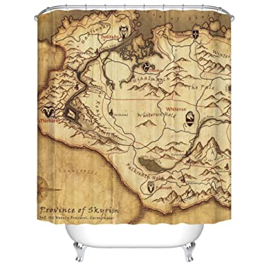 Bartori Bathroom Decor Shower Curtain The Old Map in Game Province of Skyrim The Elder Scrolls V Waterproof Polyester Fabric Bath Curtain with 12pcs Hooks 71''X71''