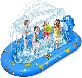 Fabu 170 * 103 * 65CM Splash Pad para Niños Familiares, Tapete de Agua 2 en 1 Chapoteo Almohadilla de Aspersión Jardín de ...
