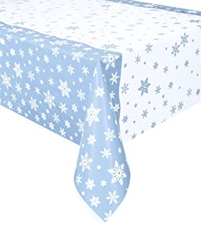 Snowflakes Holiday Plastic Tablecloth, 84
