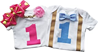 Boy Girl Twin Outfits 1st Birthday Set Blue Gingham and Pink