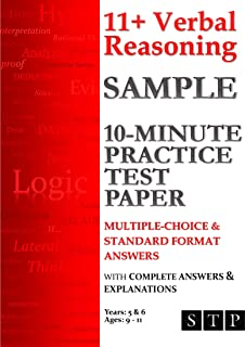 11+ Verbal Reasoning Sample 10-Minute Practice Test Paper: Multiple-Choice & Standard Format Answers: Ages 9-11