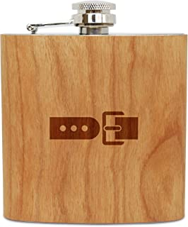 WOODEN ACCESSORIES COMPANY Cherry Wood Flask With Stainless Steel Body - Laser Engraved Flask With Belt Buckle Design - 6 Oz Wood Hip Flask Handmade In USA