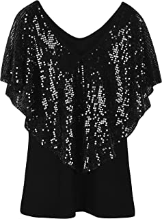 Women's Tunic Tops Sequin Overlay Cold Shoulder Glitter Cocktail Party Blouse Top