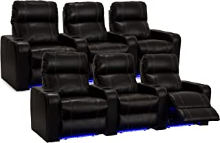 Seatcraft Dynasty - Home Theater Seating - Power Recline - Leather Gel - Cup Holders - USB Charging - Ambient Lighting - Wall Hugger - Two Rows of 3 - Black