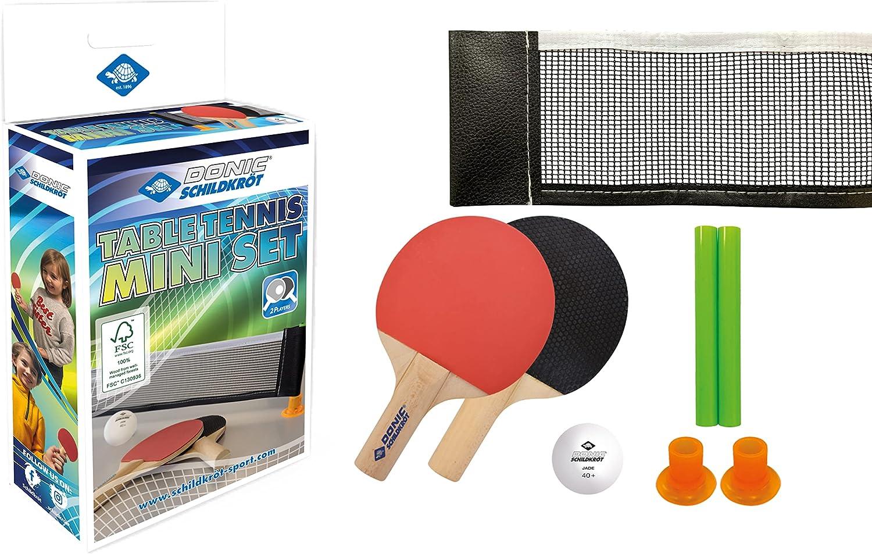 Donic-Schildkröt Mini Set de Tenis de Mesa, 2 Raquetas FSC, Red con Postes de Ventosa, 1 Pelota, en un Nuevo Embalaje de Cartón, 788460