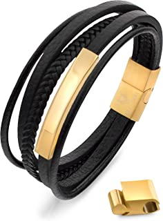 Nouveau Hommes Femmes Couple Cuff Bracelet en Acier Inoxydable Caoutchouc Bracelet jonc fermoir