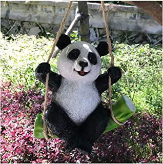 Goods247 Cute Black and White PandaSwing on Bamboo Creative Statue as Garden Decoration