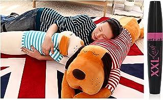 Skylofts Stylish Cute Stuffed Dog Pillow Cushion, 70cm (Brown) with Wet n Wild XXL Lash Mascara - Black