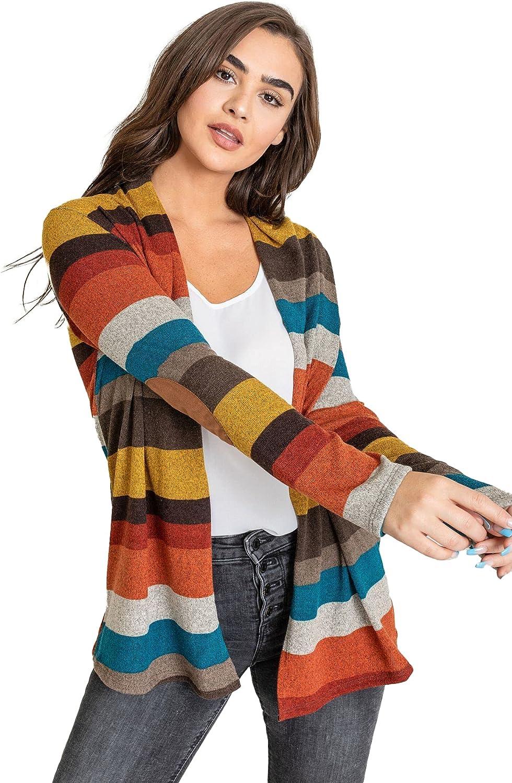 Eloges Women's Multi Stripe Elbow Patch Knit Open Cardigan   S to 3X (Reg, Plus)   EGS
